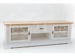 Tv-laud Family-3 kahe klaasuksega valge/tammespoon